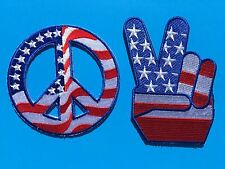 4479c26fd31 Set of 2 USA American Flag Peace Sign Victory Round Embroidered Patch ( 3