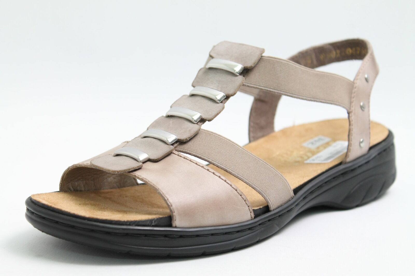 Rieker Sandaletten grau Leder finished Applikation Vario Wechselfußbett Damen