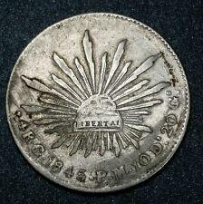 Mexico 1845☆ Go☆P.M. 4 Reales Guanajuato Mint, Silver Coin Very Fine Cap & Rays