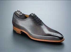 Homme-Fait-a-la-main-Chaussures-Derbies-Richelieu-a-Gray-en-cuir-a-lacets-formel-robe-Casual-Boot