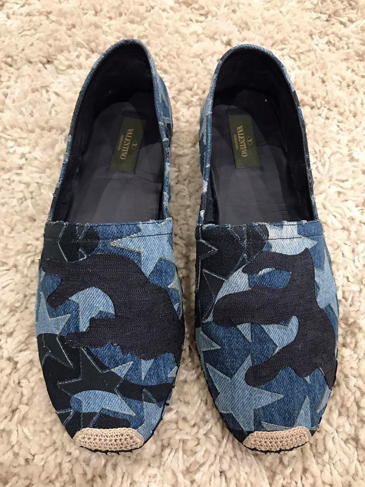 NIB Valentino Rockstud bluee Canvas Star Camo Print Slip On Espadrille Flats 41