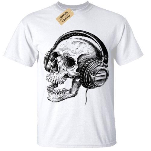 Skull Headphones SCREEN PRINTED Mens T Shirt S-5XL band skeleton music retro
