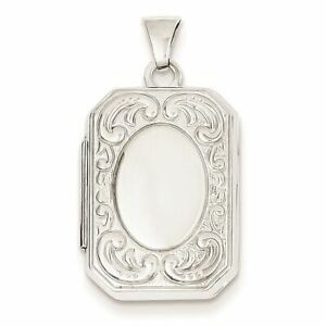 14K-White-Gold-Book-Scroll-Border-Rectangle-Locket-Charm-Pendant-MSRP-445