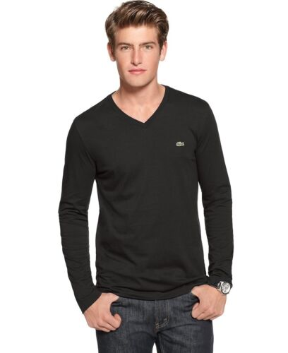 Authentic  Lacoste  Men/'s 100/% Cotton Pima Vneck Long Sleeve Tee  T-Shirt Shirts