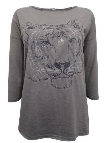 Oliver Coton Imprimé Tigre Haut à manches longues gris 12-18 Free p/&p S