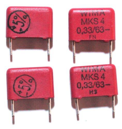 WIMA MKS-4 metalised polyester condensateur 0.33uF 63Vdc lot de 4