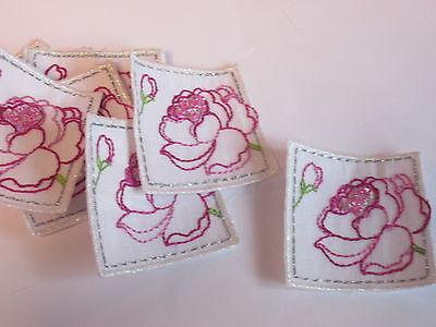 Set Di 10 Ricamato Con Perline Fiore Quadrato Arti Card Making Motivi Badge # 15d113-