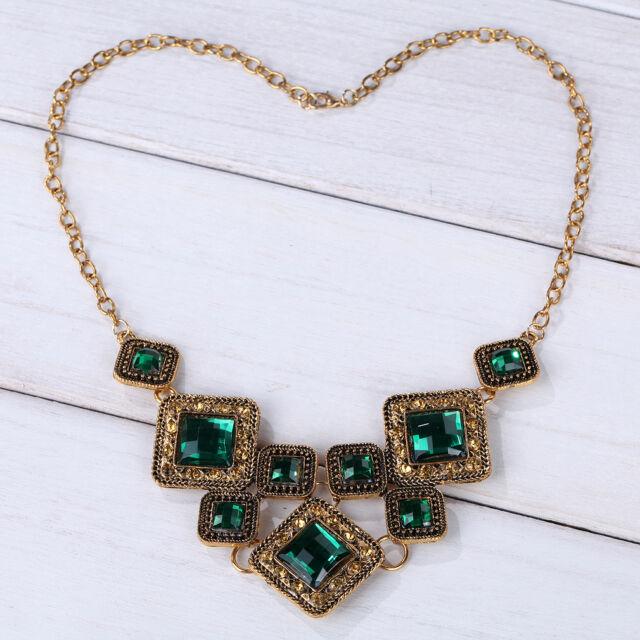 Retro Vintage Bronze Green Gemstone Pendant Chain Necklace Women Party Gift Hot