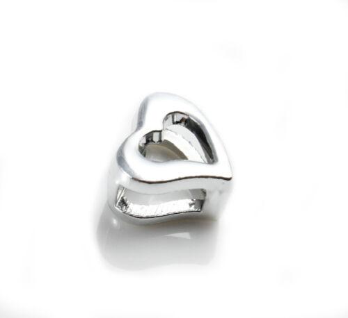 4x métal Glissière Coeur Platine id6 x 2,5 mm Fabrication Bracelet Saint Valentin plat