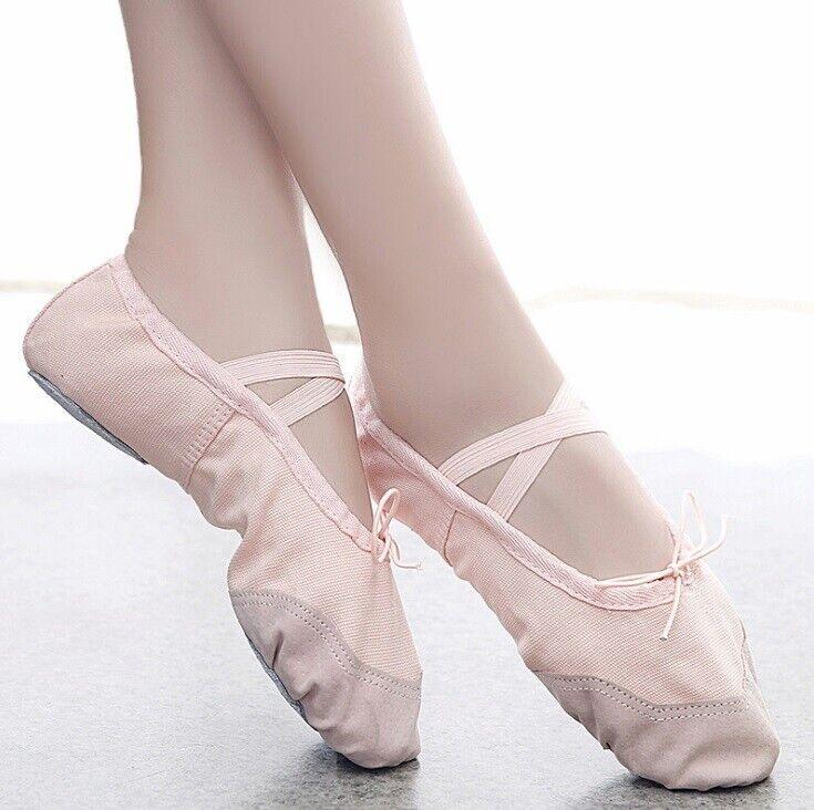 High Quality Girls Adult Dance Wear Canvas Ballet Shoes Cream Beige Pink UK