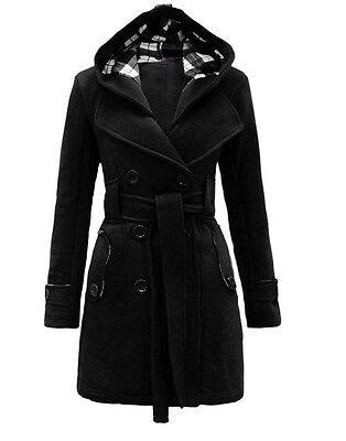 New Women Warm Winter Wool Hooded Trench Coat Long Jacket Outwear Overcoat Tops