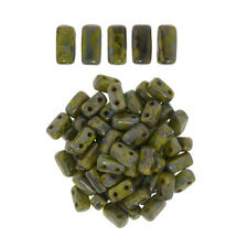 50 CzechMates Bricks Opaque Olive Picasso Two Hole Beads 3x6mm