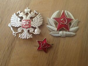 Russian-USSR-Military-Army-Communist-Party-amp-Imperial-Army-Hat-Badges