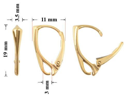 Sterling Silver Leverback Boucles d/'oreille crochets avec boucle ouverte 19x11mm Toutes les plaques