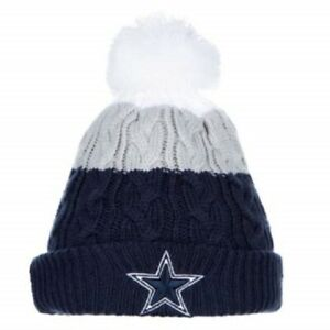 e13e3c11 Details about Dallas Cowboys New Era Woman's Layered Up 2 Pom Knit Hat -  Blue/ White