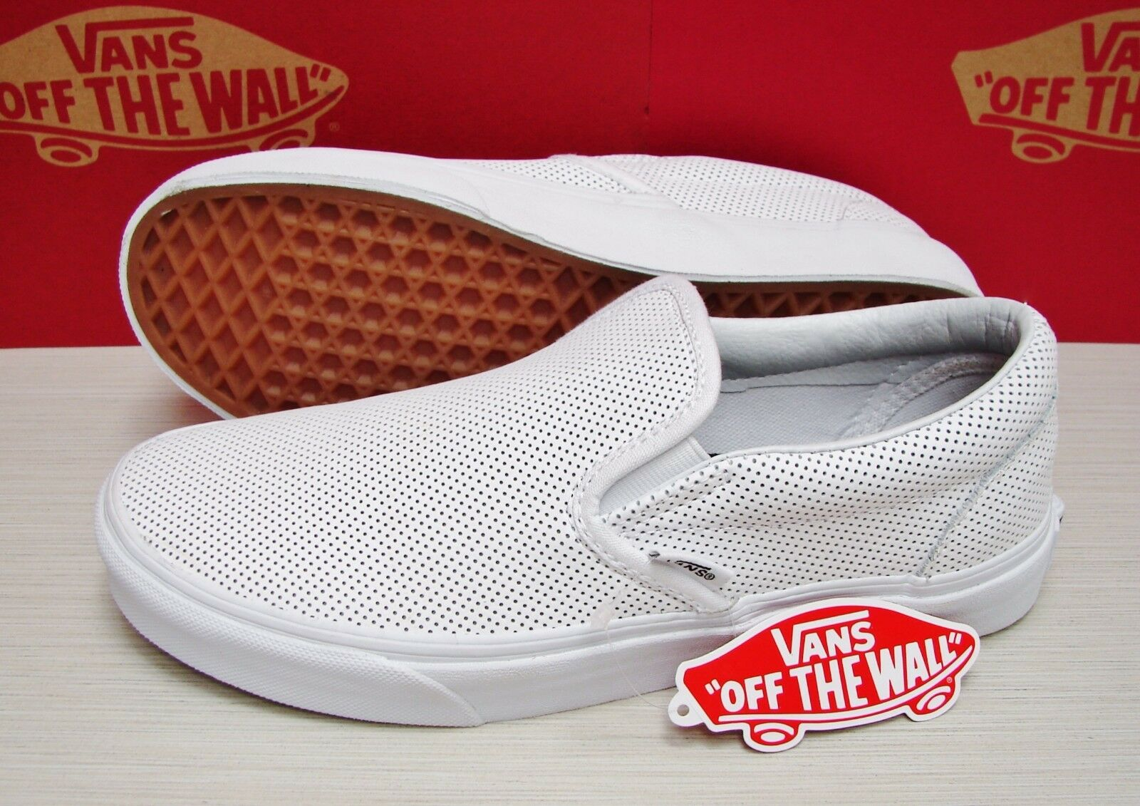 Vans Classic Slip On Perf Leather White Women's Size 5