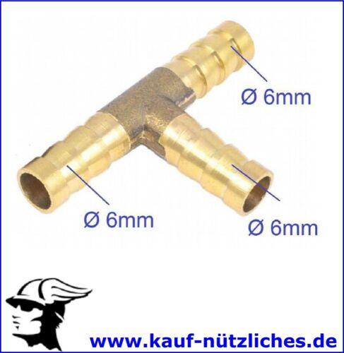 6mm T Stück Wasser Verteiler Schlauch Schlauchstutzen Schlauchtülle Fitting