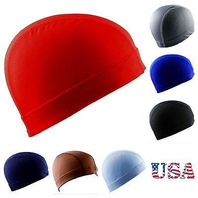 red breathable spandex Dome Hat skull BIKER HEAD LINER football sport Beanie Cap