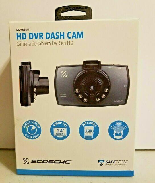 """Black Scosche HD DVR Dash Cam DDVR2ST 1080p HD 2.4/"""" 4GB Night Vision"""