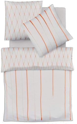 Fleuresse Tournant Linge De Lit 135 X 200 Mako Satin Coton Blanc Orange 113734 3