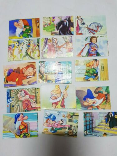 BATCH OF 15 BASEBALL CARDS SNOW WHITE Y LOS SEVEN DWARFS WITHOUT STICKING