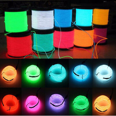 Glow Neon LED String Strip Light Flexible EL Wire Home//Car//Party Decor USB