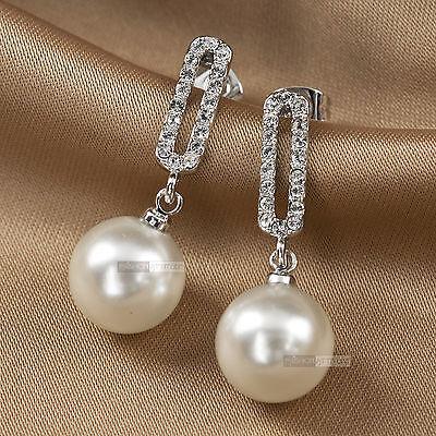 18k white gold GF made with swarovski crystal wedding pearl stud earrings