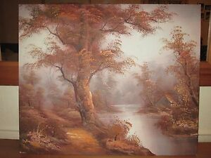 Vintage-Original-Oil-Painting-Picture-On-Canvas-Landscape-Signed-By-Cafieri