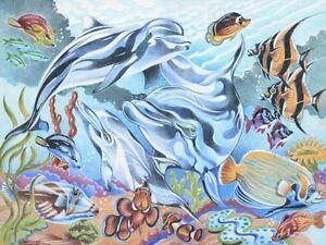 Details Zu Malen Nach Zahlen Mit Buntstiften Unterwasserwelt Delfine 30 Cm X 40 Cm Mammut