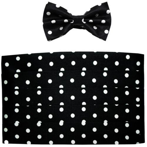 NEW in box men/'s formal 100/% SILK Cummerbund bowtie set Black White Polka dots