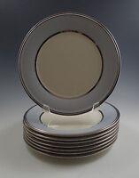 LENOX USA DIMENSION BLUE FROST SET OF 8 SALAD PLATES, PLATINUM RIM