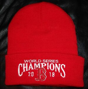 Boston Red Sox 2018 World Series Champions Red Winter Skull Hat KNIT ... 7719684d0c2