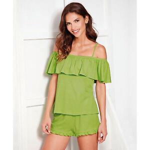 Pijama camiseta de tirantes regulables con volante fruncido mujer by V - 182019