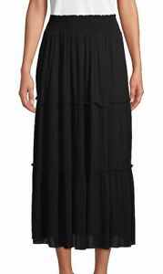 John Paul Richard Womens Maxi Skirt Black Size 2X Plus Smocked Tiered $48 935