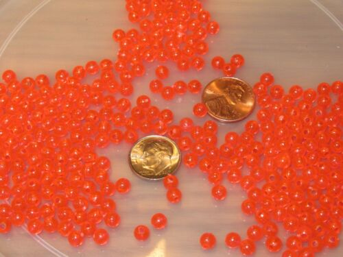 250 5MM ROUND FLUORESCENT RED FISHING BULK BEADS TACKLE RIG HOOK BEAD FISH RIGS