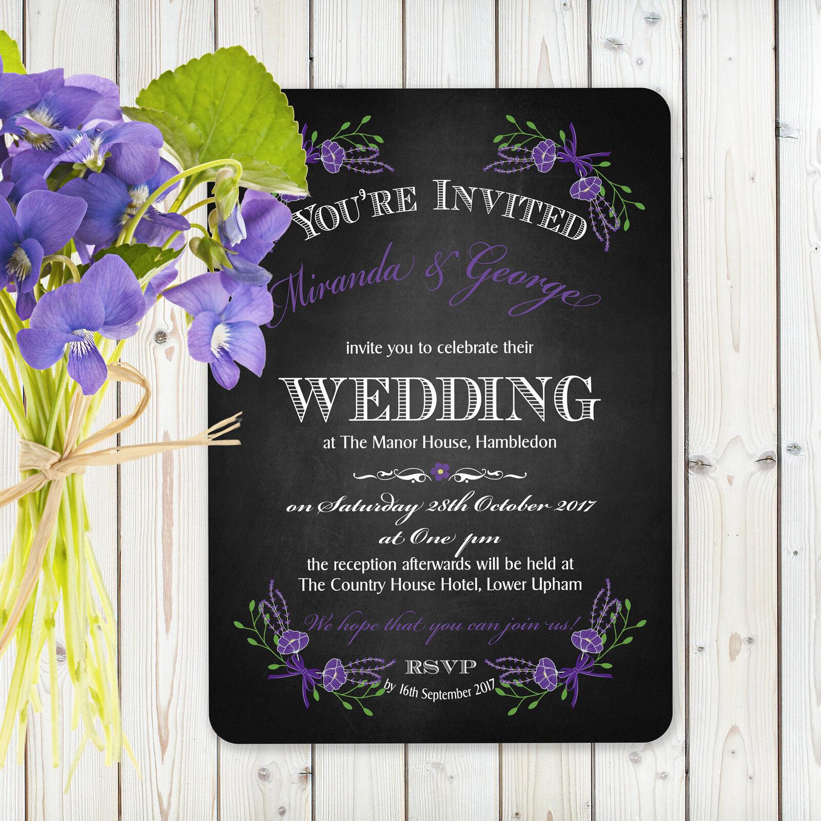 Personnalisé Vintage Floral Wedding Invitation Fantasy Floral Vintage Violet Inc Enveloppe Noir 7bf1e6