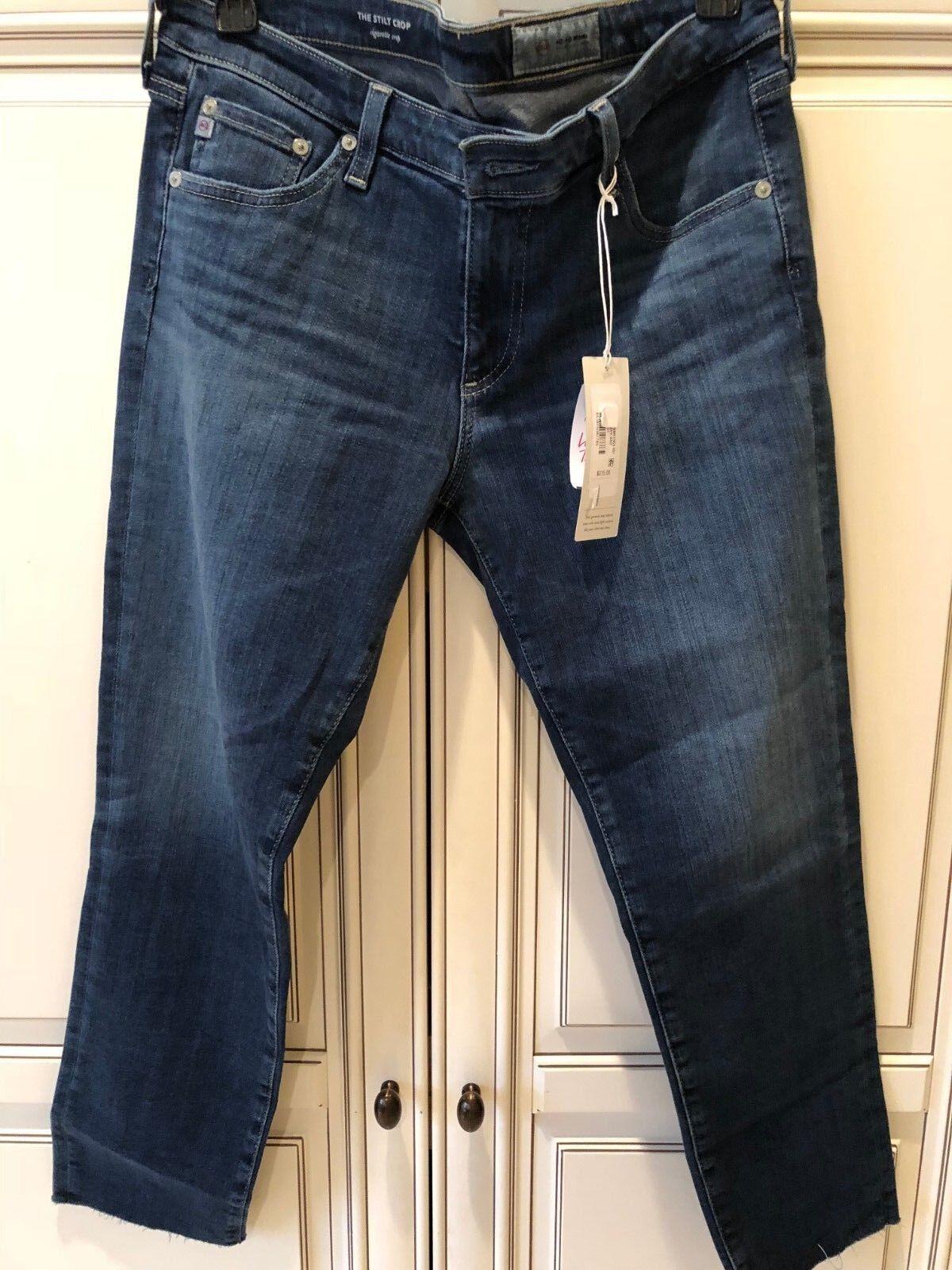 4a5c121679f NWT AG Adriano goldschmied Stilt Crop Cigarette Jeans Sz 31 Medium Dark Wash