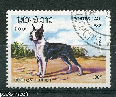 LAOS, 1982, timbre 426, CHIEN BOSTON-TERRIER, oblitéré, VF used stamp, DOGS