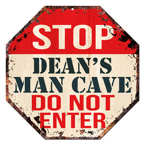 OTGM-0173-STOP-DEAN-039-S-MAN-CAVE-Tin-Rustic-Sign-Man-Cave-Decor-Gift-Ideas