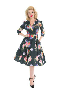 Hearts & Roses Retro Midnight Green 50s Women Rockabilly Pink Roses Swing Dress