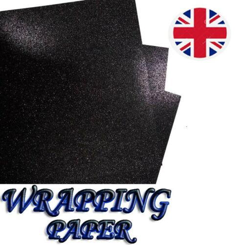 69x49cm BLACK wraps Glitter sparkle gift wrapping sheets perfect for Christmas