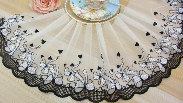 "8""*1Y Embroidered Tulle Lace Trim~Venise Side~White+Black~Flying Bows~Elegant~"