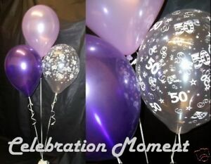 50TH BIRTHDAY Party Helium Balloon Decoration PURPLE LILAC x 15