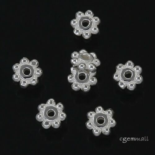 100 Sterling Silver Daisy Spacer Beads 3.7mm #97617