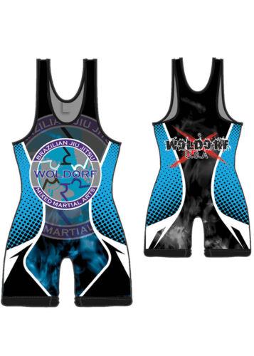 Woldorf USA Wrestling Singlet high quality digital sublimation black//blue