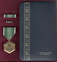 Army Commendation medal in case with ribbon bar and lapel pin Large Case