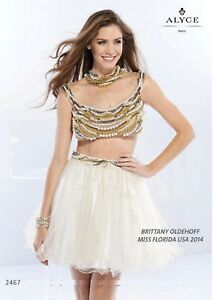 NWT-Alyce-Paris-Claudine-2467-Pearl-Gold-short-two-piece-tulle-homecoming-dress