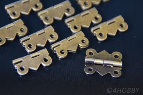 10 Mini-Scharniere Antik für Schmuckkästchen oder Schatulle Schmetterling-Form