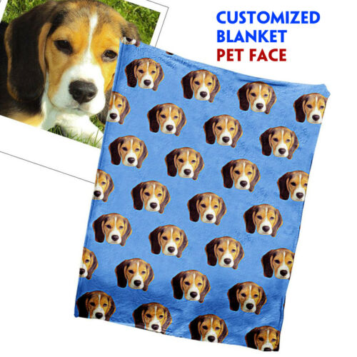 Details about  /US PREMIUM Personalized Pet Face Fleece Blanket Photo Customized Blanket Picture