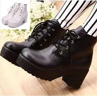 Ladies Women Summer Platform Boots Mid Block Heel Ankle Casual Shoes Lace up